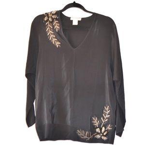 ••gold hawk 100% silk beaded tunic••